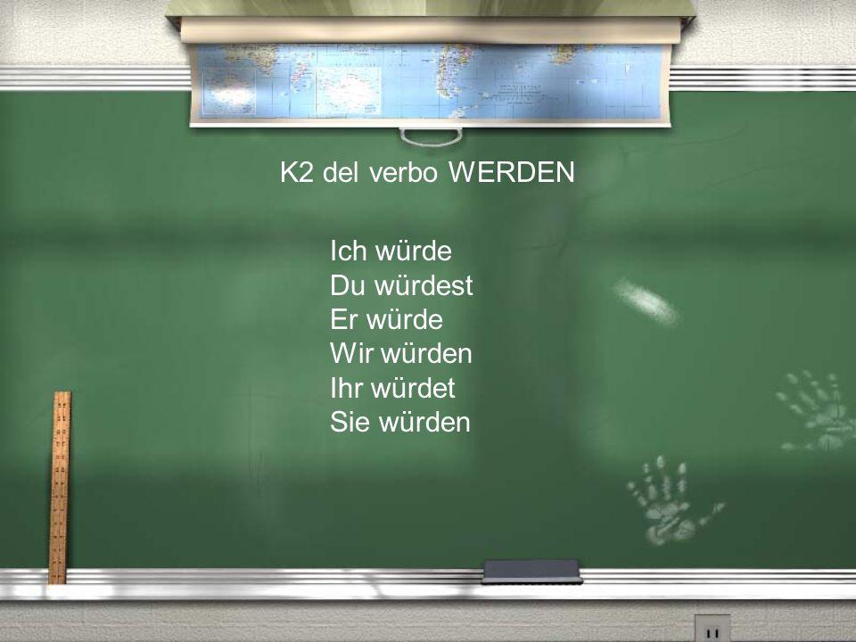 K2 del verbo WERDEN Ich würde Du würdest Er würde Wir würden Ihr würdet Sie würden