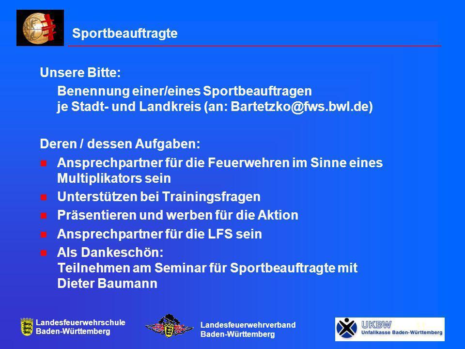 Sportbeauftragte Unsere Bitte: Benennung einer/eines Sportbeauftragen je Stadt- und Landkreis (an: Bartetzko@fws.bwl.de)