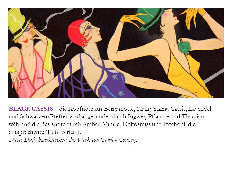 BLACK CASSIS – die Kopfnote aus Bergamotte, Ylang-Ylang, Cassis, Lavendel und Schwarzem Pfeffer wird abgerundet durch Ingwer, Pflaume und Thymian während die Basisnote durch Amber, Vanille, Kokosnuss und Patchouli die entsprechende Tiefe verleiht.