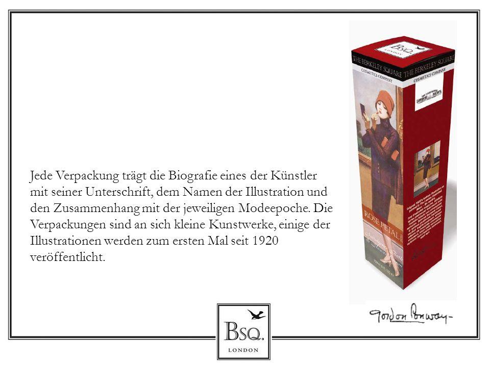 Jede Verpackung trägt die Biografie eines der Künstler mit seiner Unterschrift, dem Namen der Illustration und den Zusammenhang mit der jeweiligen Modeepoche.