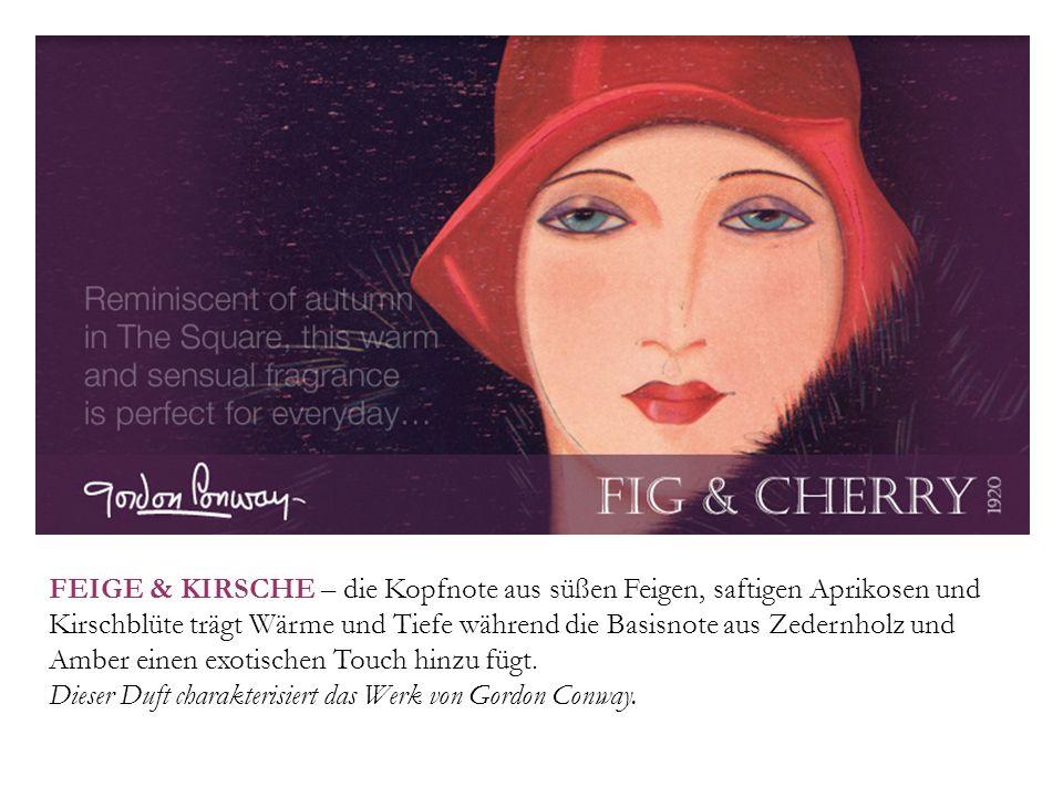 FEIGE & KIRSCHE – die Kopfnote aus süßen Feigen, saftigen Aprikosen und Kirschblüte trägt Wärme und Tiefe während die Basisnote aus Zedernholz und Amber einen exotischen Touch hinzu fügt.