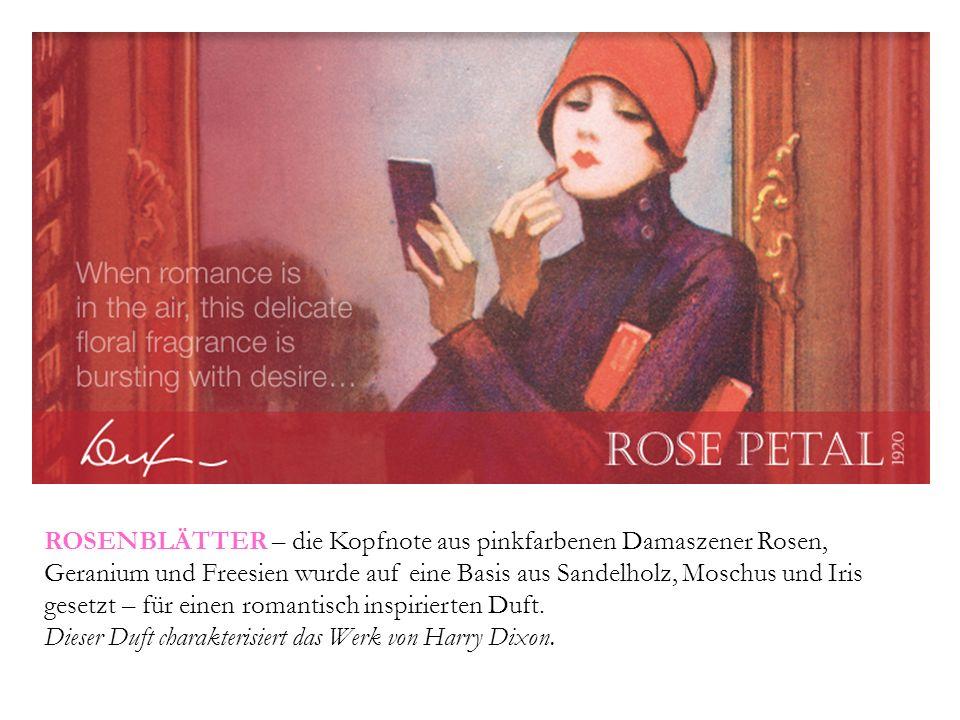 ROSENBLÄTTER – die Kopfnote aus pinkfarbenen Damaszener Rosen, Geranium und Freesien wurde auf eine Basis aus Sandelholz, Moschus und Iris gesetzt – für einen romantisch inspirierten Duft.