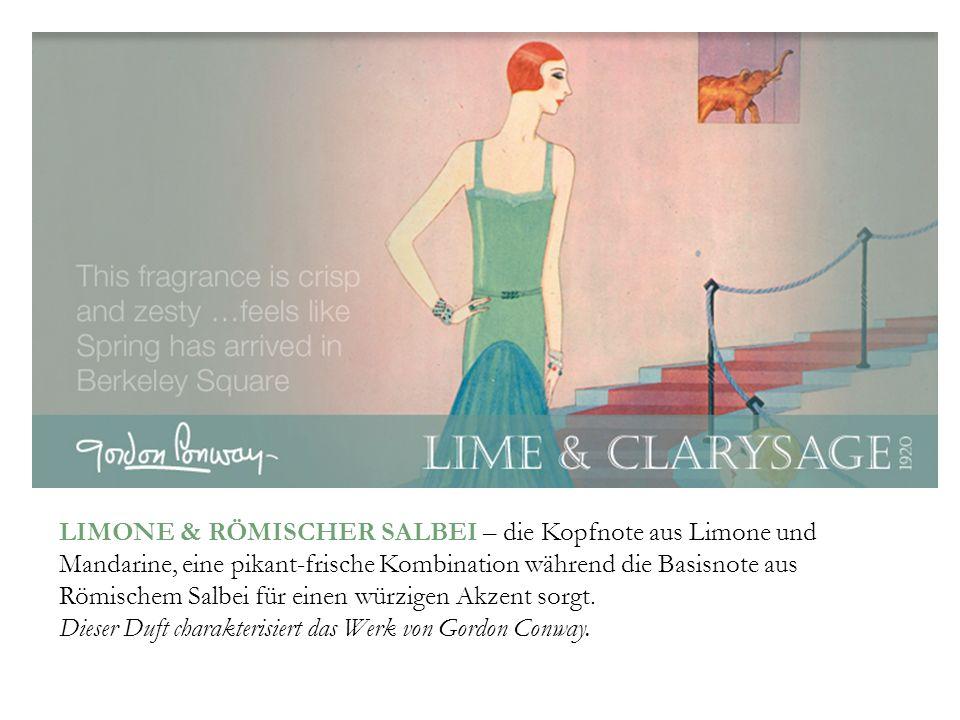 LIMONE & RÖMISCHER SALBEI – die Kopfnote aus Limone und Mandarine, eine pikant-frische Kombination während die Basisnote aus Römischem Salbei für einen würzigen Akzent sorgt.