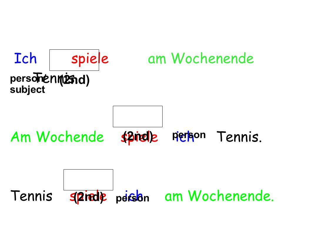 Ich spiele am Wochenende Tennis.