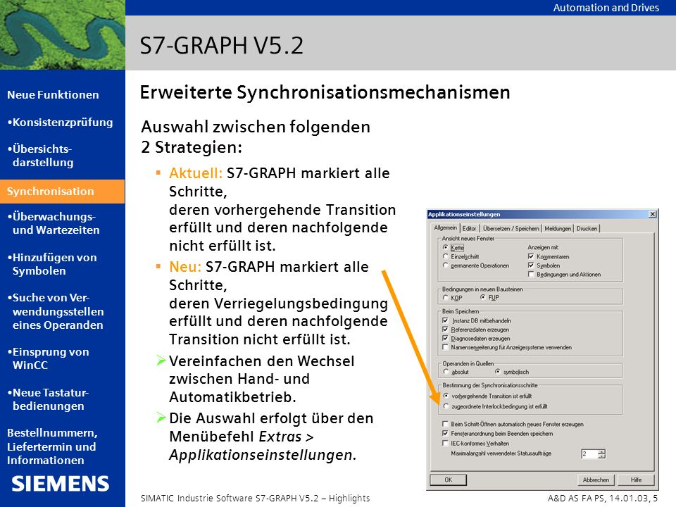 S7-GRAPH V5.2 Erweiterte Synchronisationsmechanismen