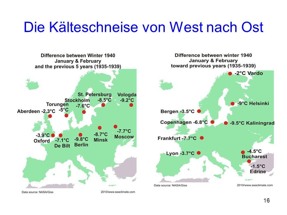 Die Kälteschneise von West nach Ost