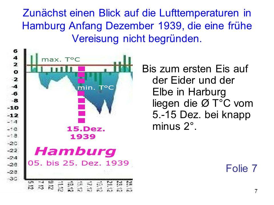Zunächst einen Blick auf die Lufttemperaturen in Hamburg Anfang Dezember 1939, die eine frühe Vereisung nicht begründen.
