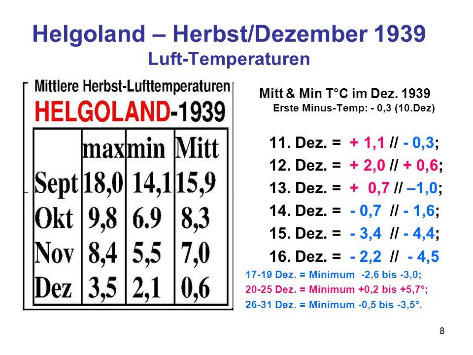 Helgoland – Herbst/Dezember 1939 Luft-Temperaturen