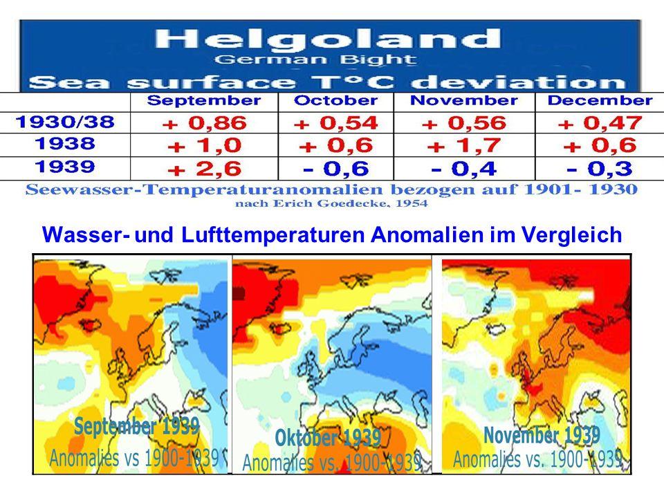 Wasser- und Lufttemperaturen Anomalien im Vergleich