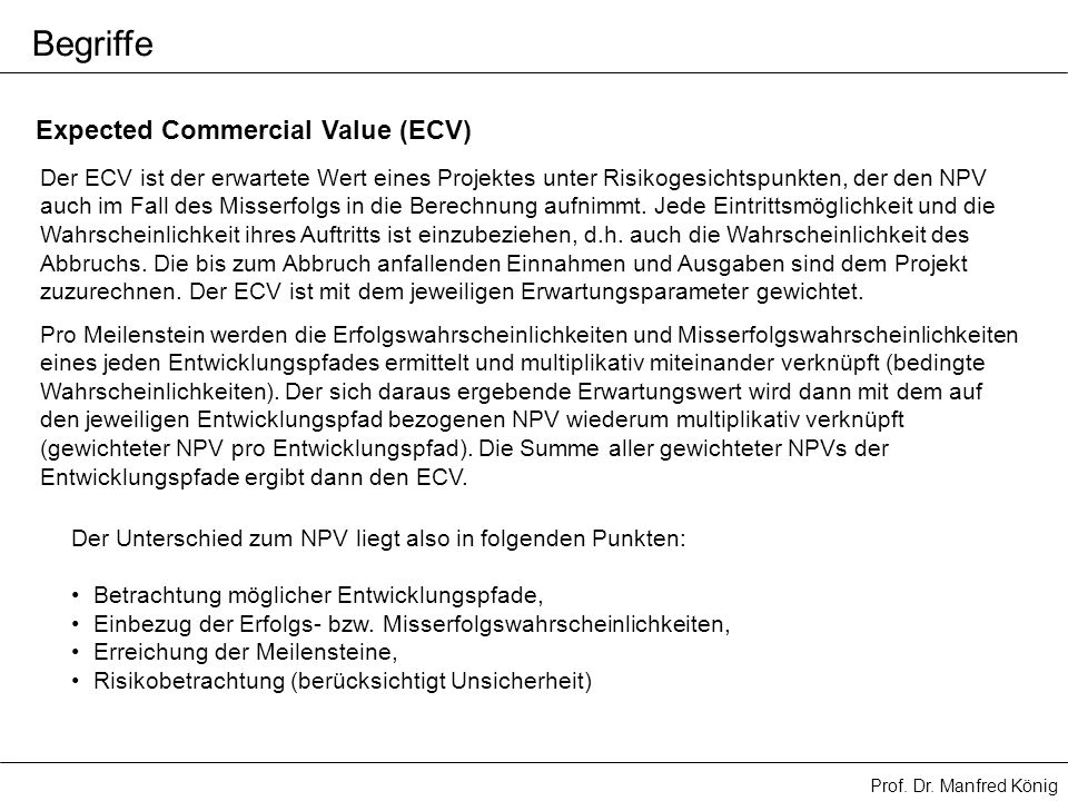 Begriffe Expected Commercial Value (ECV)
