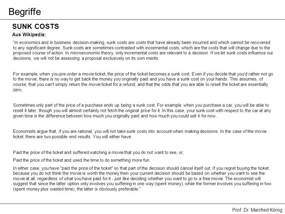 Begriffe SUNK COSTS Aus Wikipedia:
