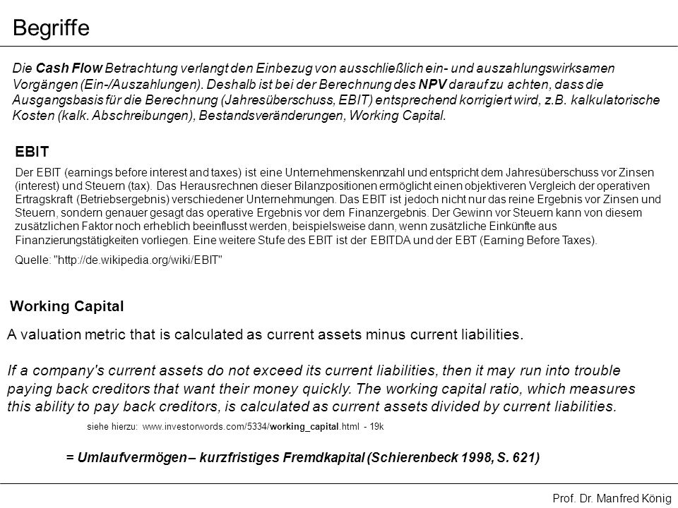 Begriffe EBIT Working Capital