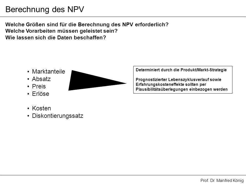 Berechnung des NPV Marktanteile Absatz Preis Erlöse Kosten