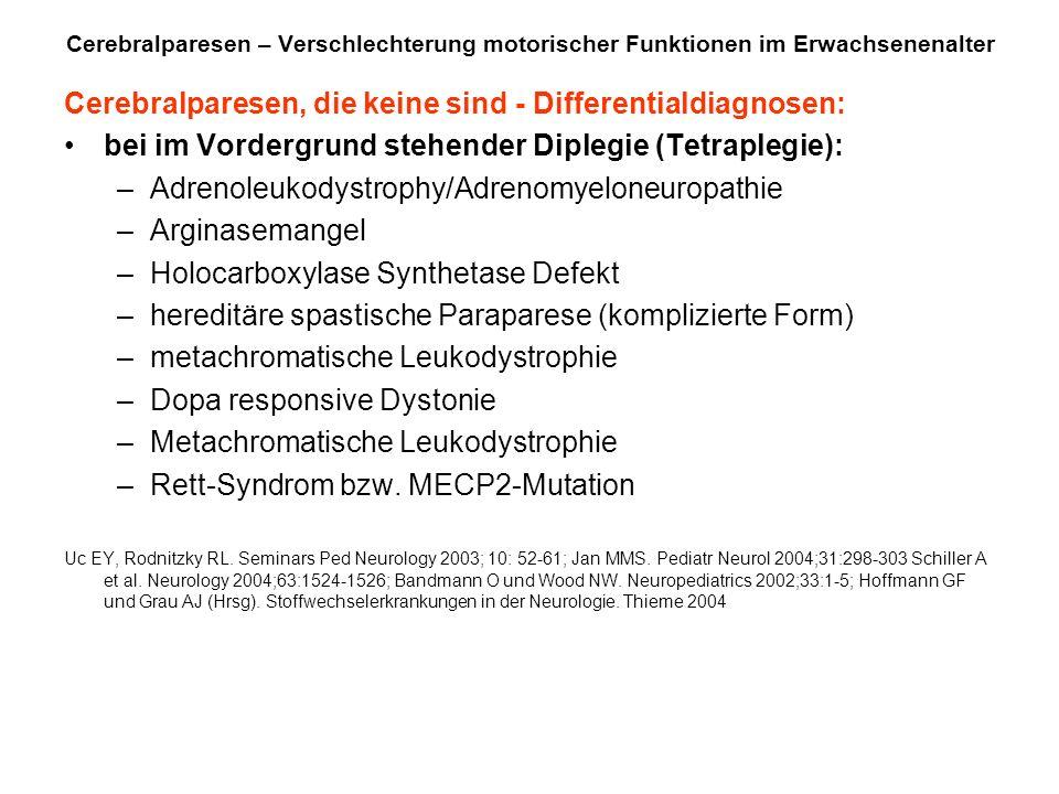 Cerebralparesen, die keine sind - Differentialdiagnosen: