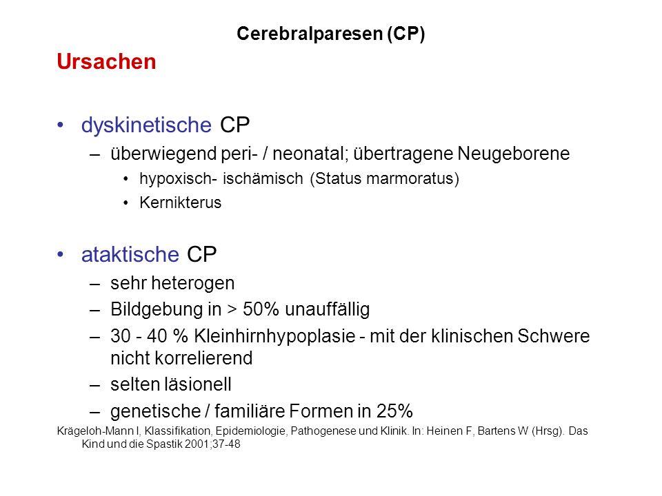 Ursachen dyskinetische CP ataktische CP Cerebralparesen (CP)