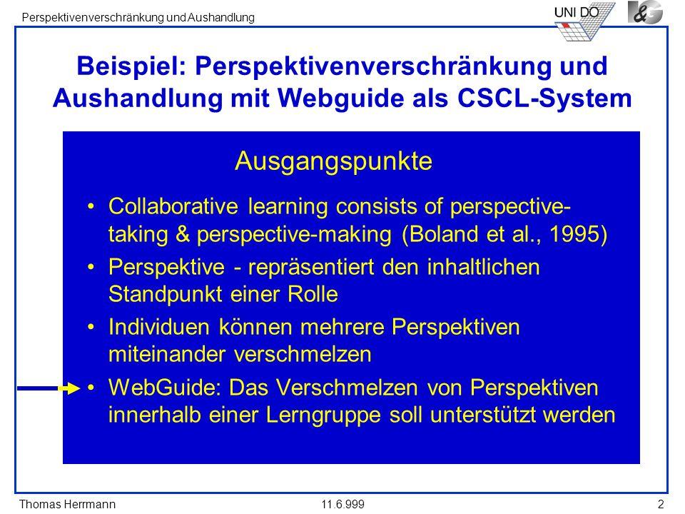 Beispiel: Perspektivenverschränkung und Aushandlung mit Webguide als CSCL-System