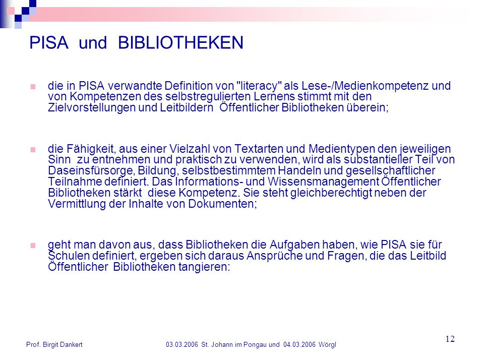 PISA und BIBLIOTHEKEN