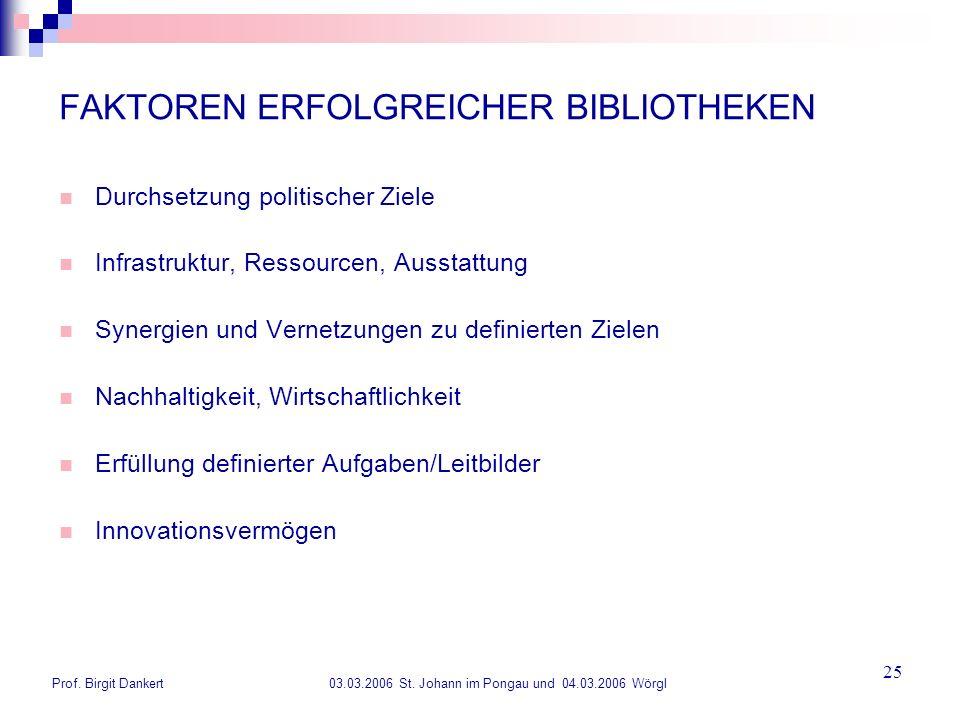 FAKTOREN ERFOLGREICHER BIBLIOTHEKEN