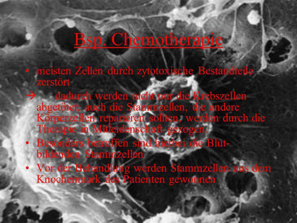 Bsp. Chemotherapie meisten Zellen durch zytotoxische Bestandteile zerstört.