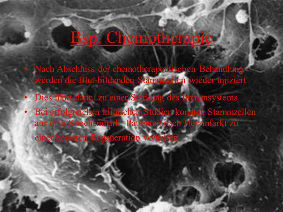 Bsp. Chemotherapie Nach Abschluss der chemotherapeutischen Behandlung werden die Blut-bildenden Stammzellen wieder injiziert.