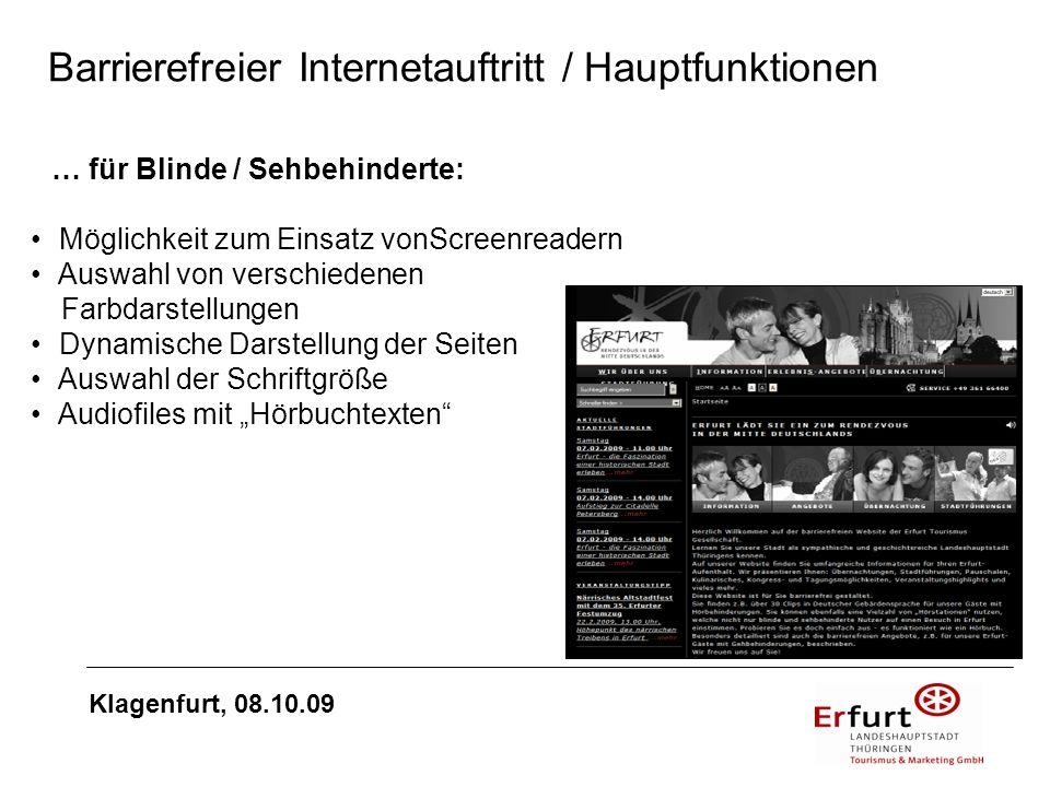 Barrierefreier Internetauftritt / Hauptfunktionen