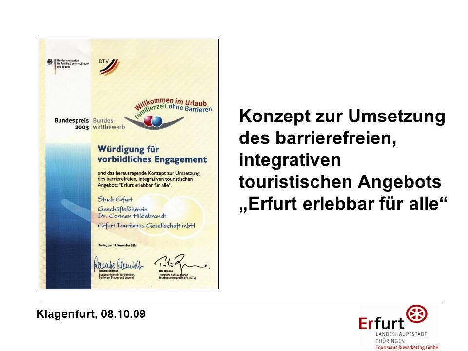 """Konzept zur Umsetzung des barrierefreien, integrativen touristischen Angebots """"Erfurt erlebbar für alle"""