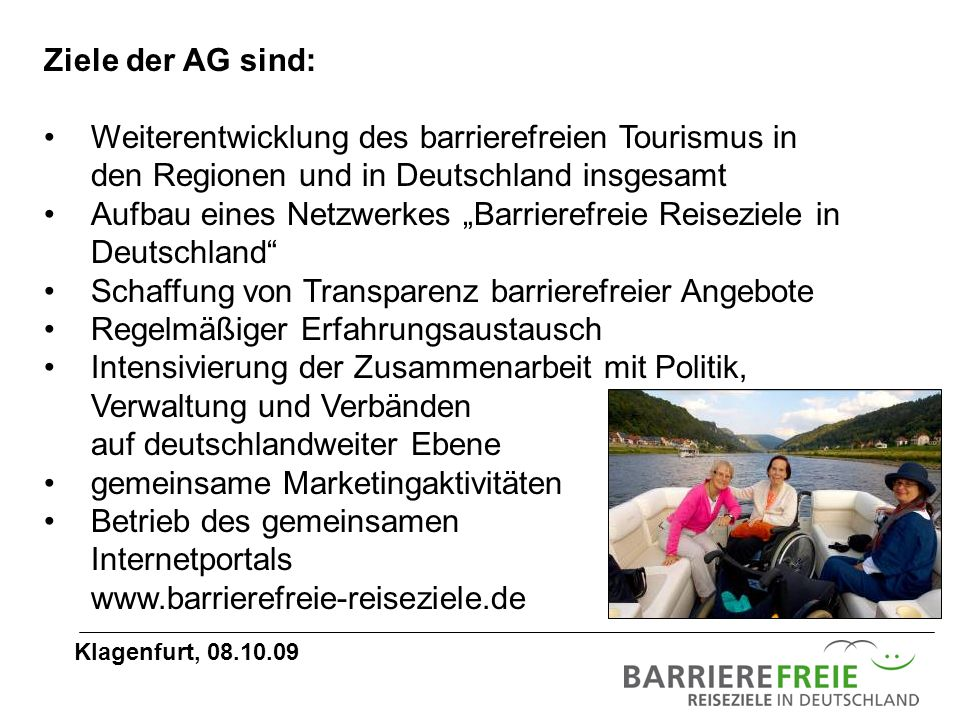 """Aufbau eines Netzwerkes """"Barrierefreie Reiseziele in Deutschland"""