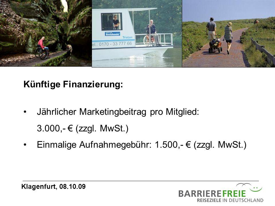 Künftige Finanzierung: Jährlicher Marketingbeitrag pro Mitglied: