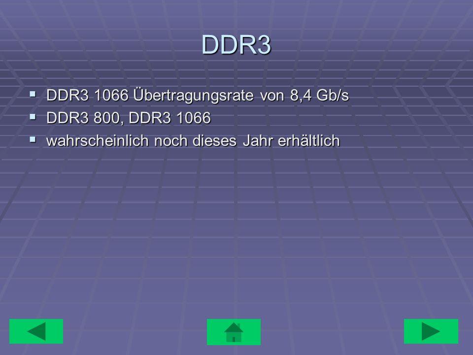 DDR3 DDR3 1066 Übertragungsrate von 8,4 Gb/s DDR3 800, DDR3 1066
