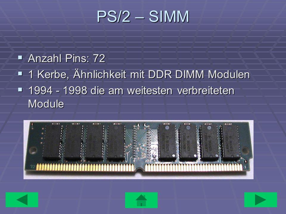 PS/2 – SIMM Anzahl Pins: 72 1 Kerbe, Ähnlichkeit mit DDR DIMM Modulen