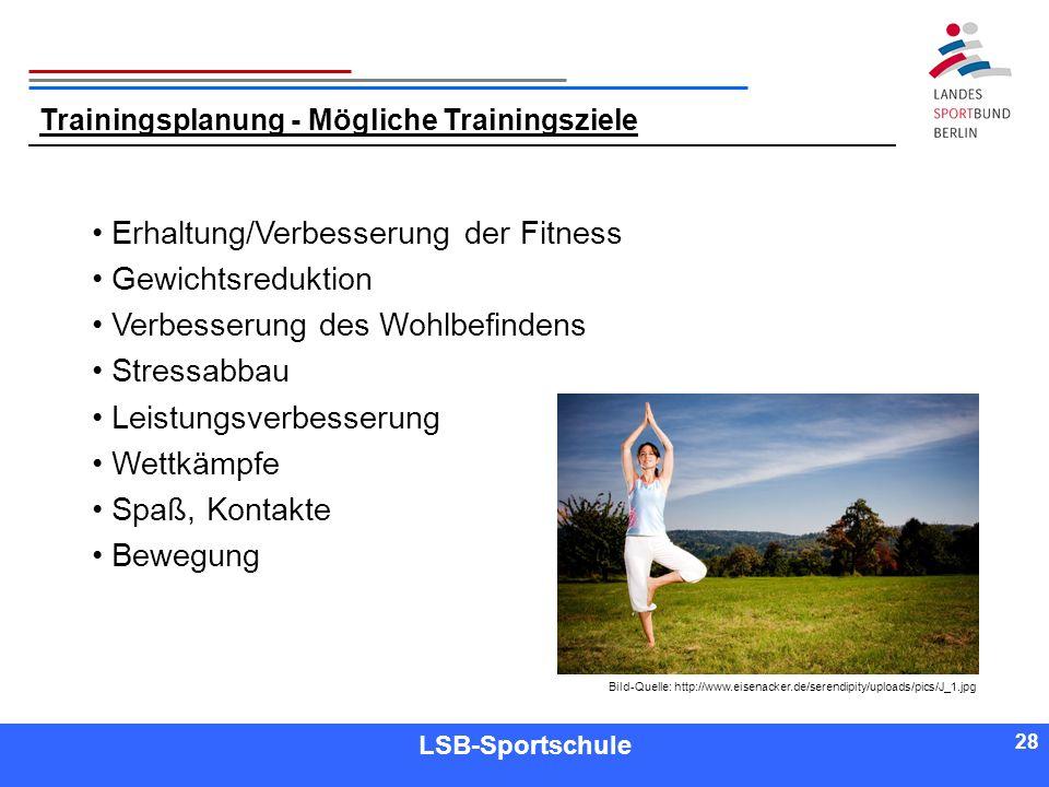 Erhaltung/Verbesserung der Fitness Gewichtsreduktion