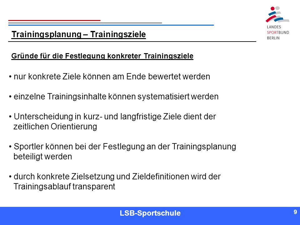 Trainingsplanung – Trainingsziele