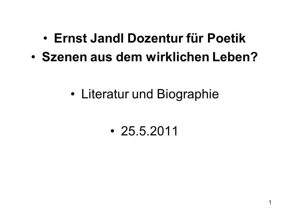 Ernst Jandl Dozentur für Poetik Szenen aus dem wirklichen Leben