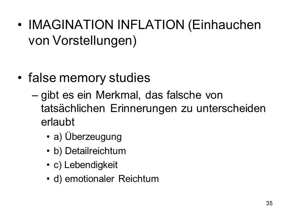 IMAGINATION INFLATION (Einhauchen von Vorstellungen)