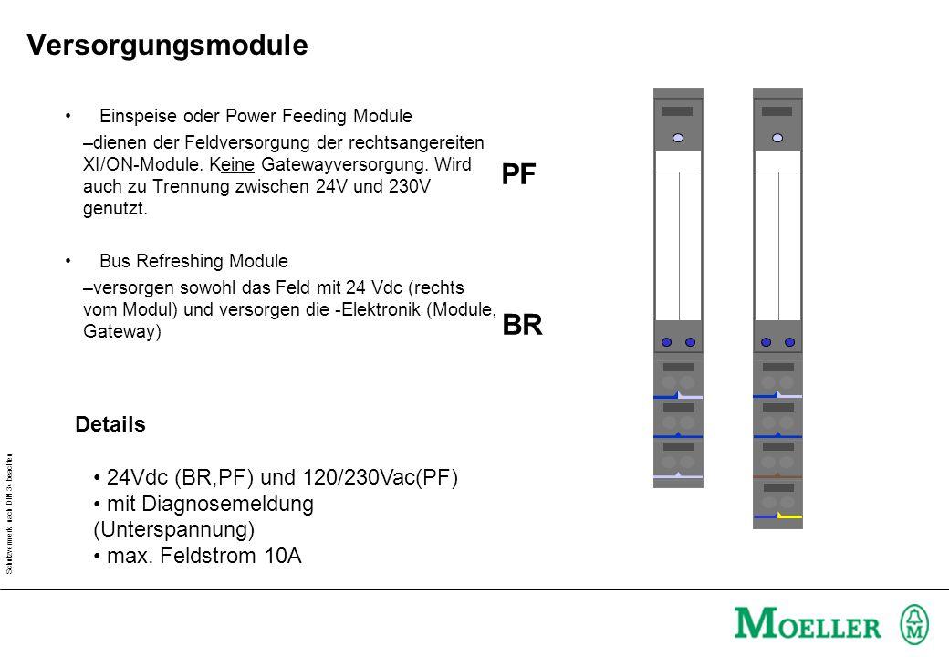 Versorgungsmodule PF BR Details 24Vdc (BR,PF) und 120/230Vac(PF)