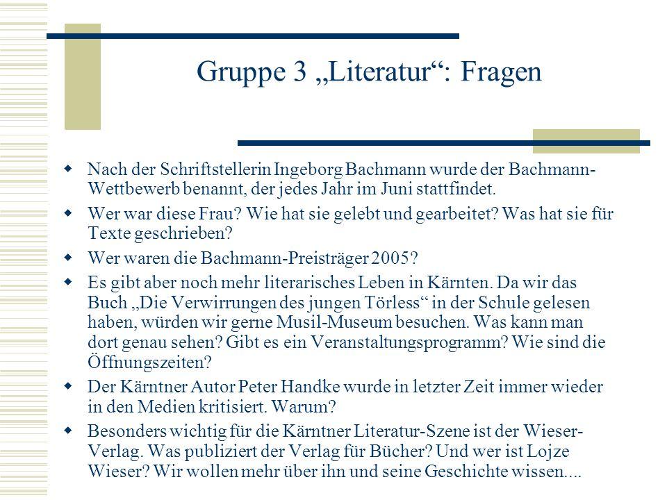 """Gruppe 3 """"Literatur : Fragen"""