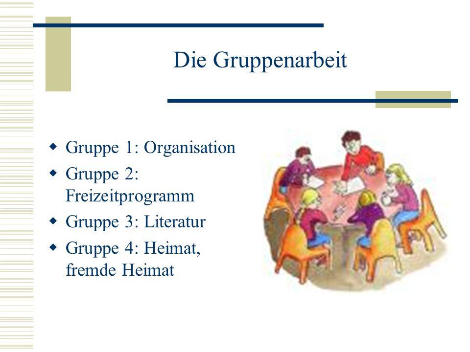 Die Gruppenarbeit Gruppe 1: Organisation Gruppe 2: Freizeitprogramm