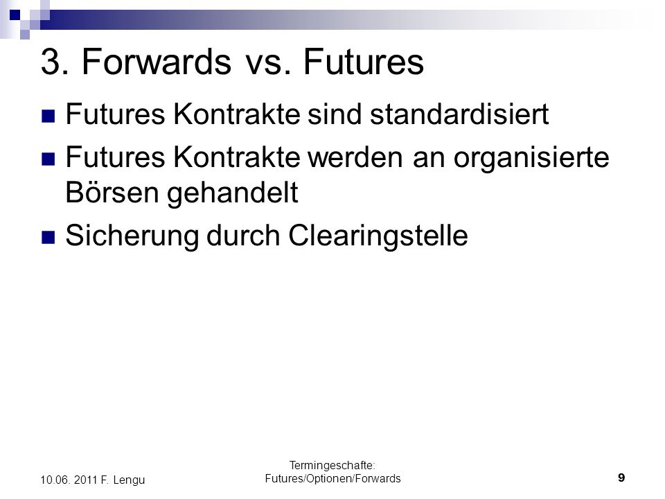 Termingeschafte: Futures/Optionen/Forwards