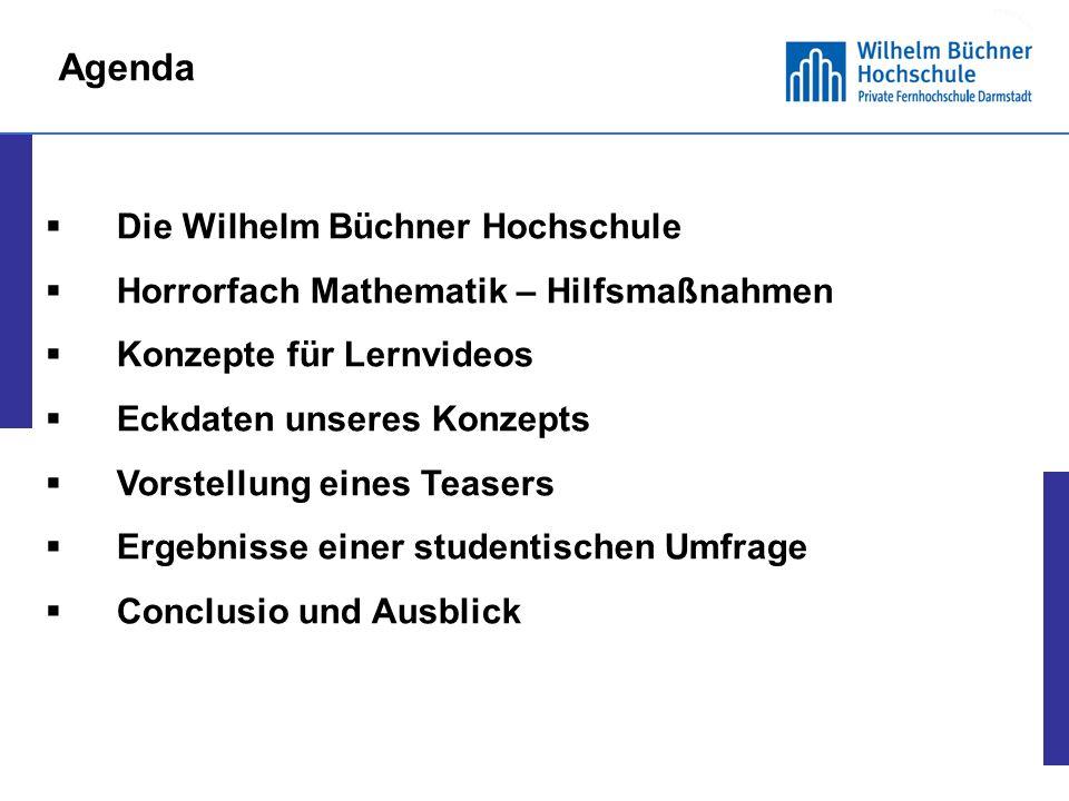 Agenda Die Wilhelm Büchner Hochschule. Horrorfach Mathematik – Hilfsmaßnahmen. Konzepte für Lernvideos.
