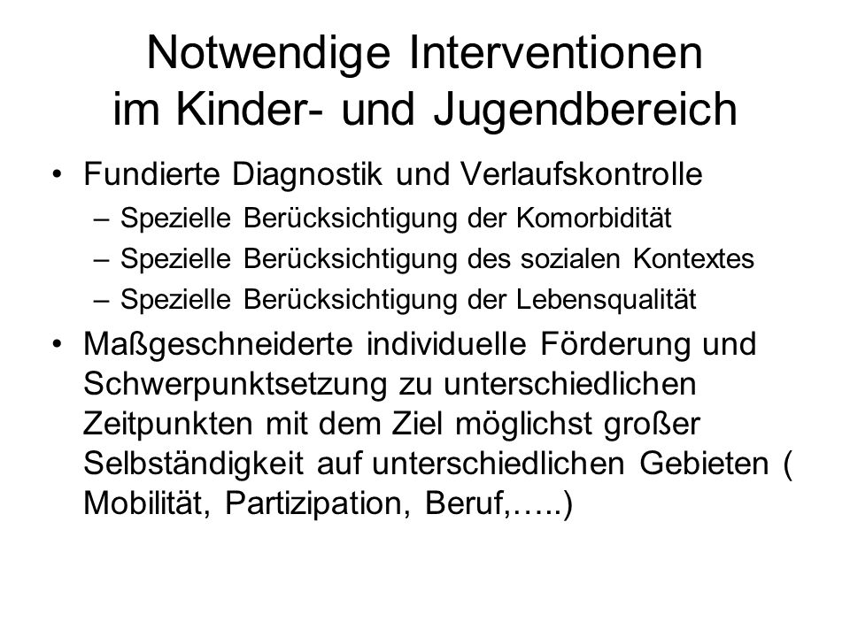 Notwendige Interventionen im Kinder- und Jugendbereich