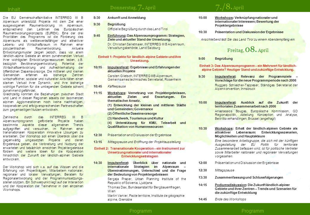 Einheit 1: Projekte für ländlich-alpine Gebiete und ihre Umsetzung.