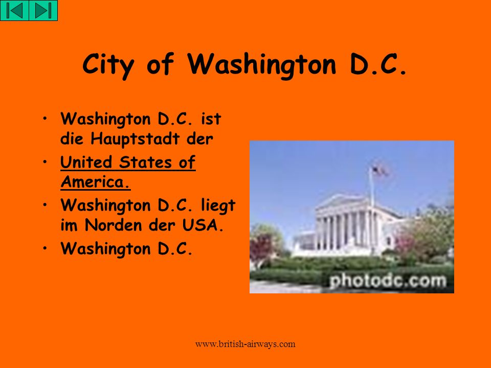 City of Washington D.C. Washington D.C. ist die Hauptstadt der