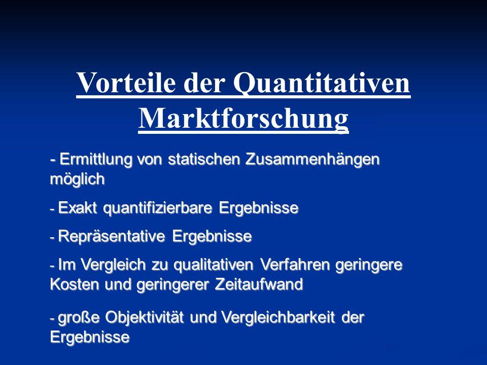 Vorteile der Quantitativen Marktforschung