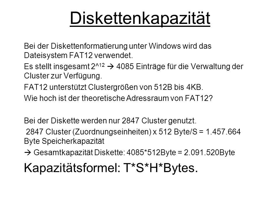 Diskettenkapazität Kapazitätsformel: T*S*H*Bytes.