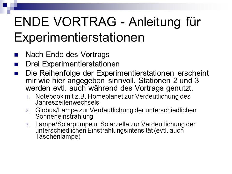 ENDE VORTRAG - Anleitung für Experimentierstationen