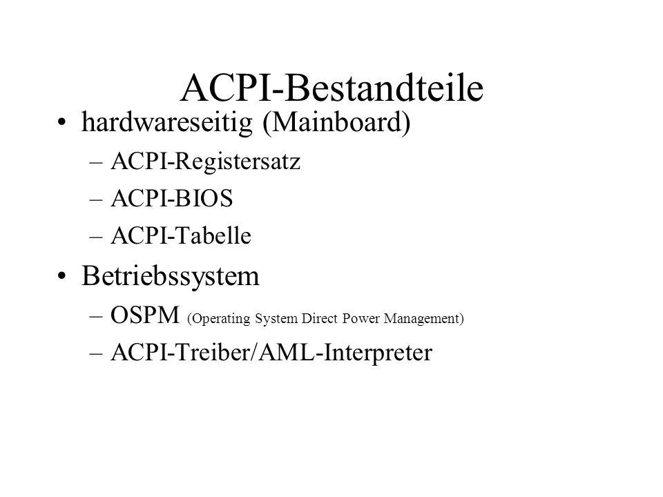 ACPI-Bestandteile hardwareseitig (Mainboard) Betriebssystem