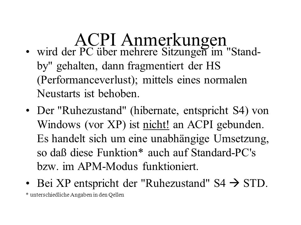 ACPI Anmerkungen
