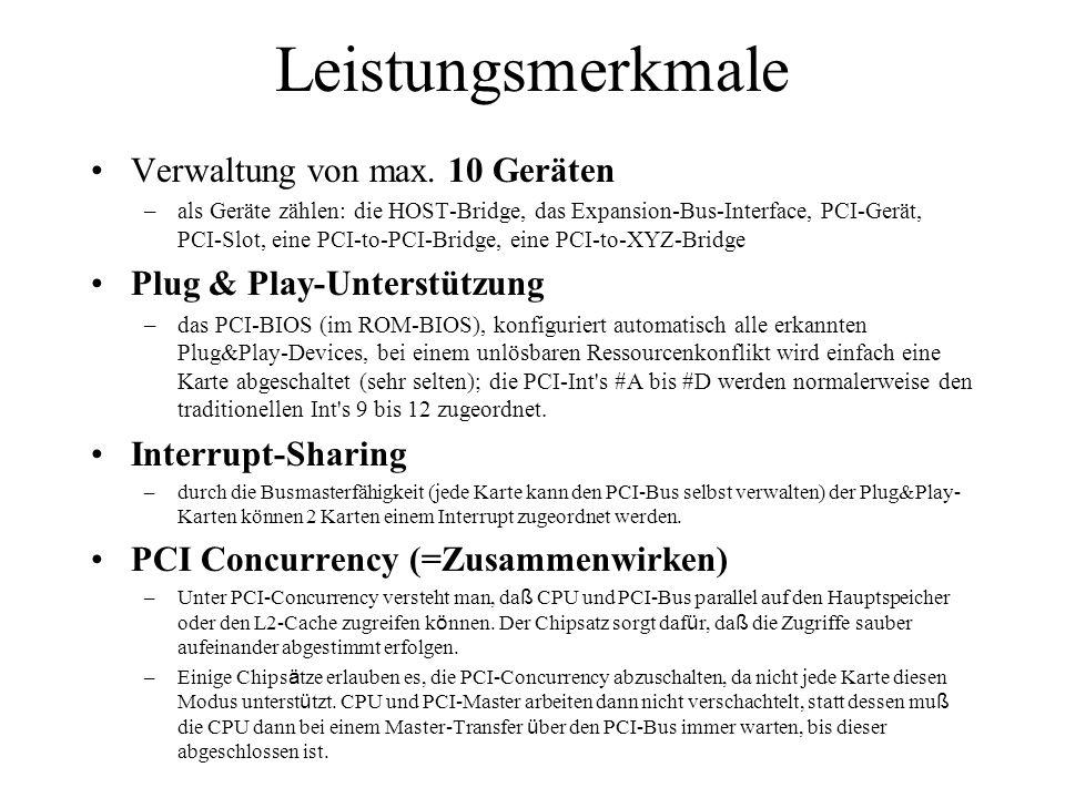 Leistungsmerkmale Verwaltung von max. 10 Geräten