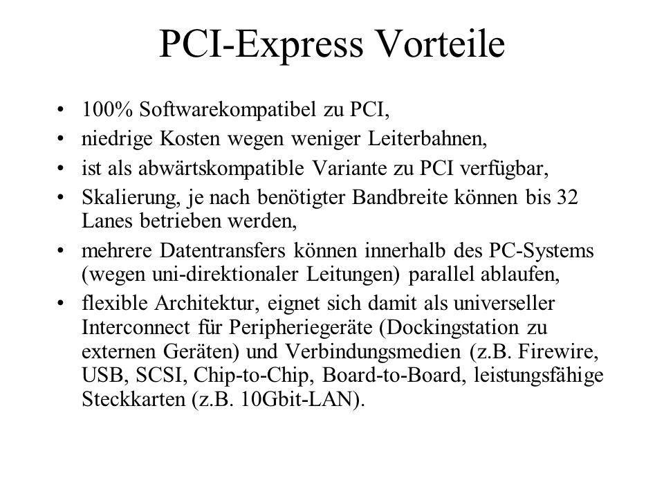 PCI-Express Vorteile 100% Softwarekompatibel zu PCI,