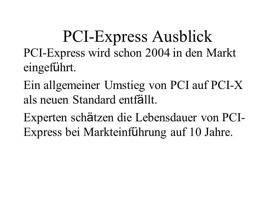 PCI-Express Ausblick PCI-Express wird schon 2004 in den Markt eingeführt. Ein allgemeiner Umstieg von PCI auf PCI-X als neuen Standard entfällt.